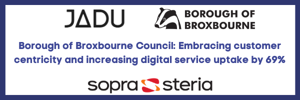Borough of broxbourne council, Jadu and Sopra Steria logos