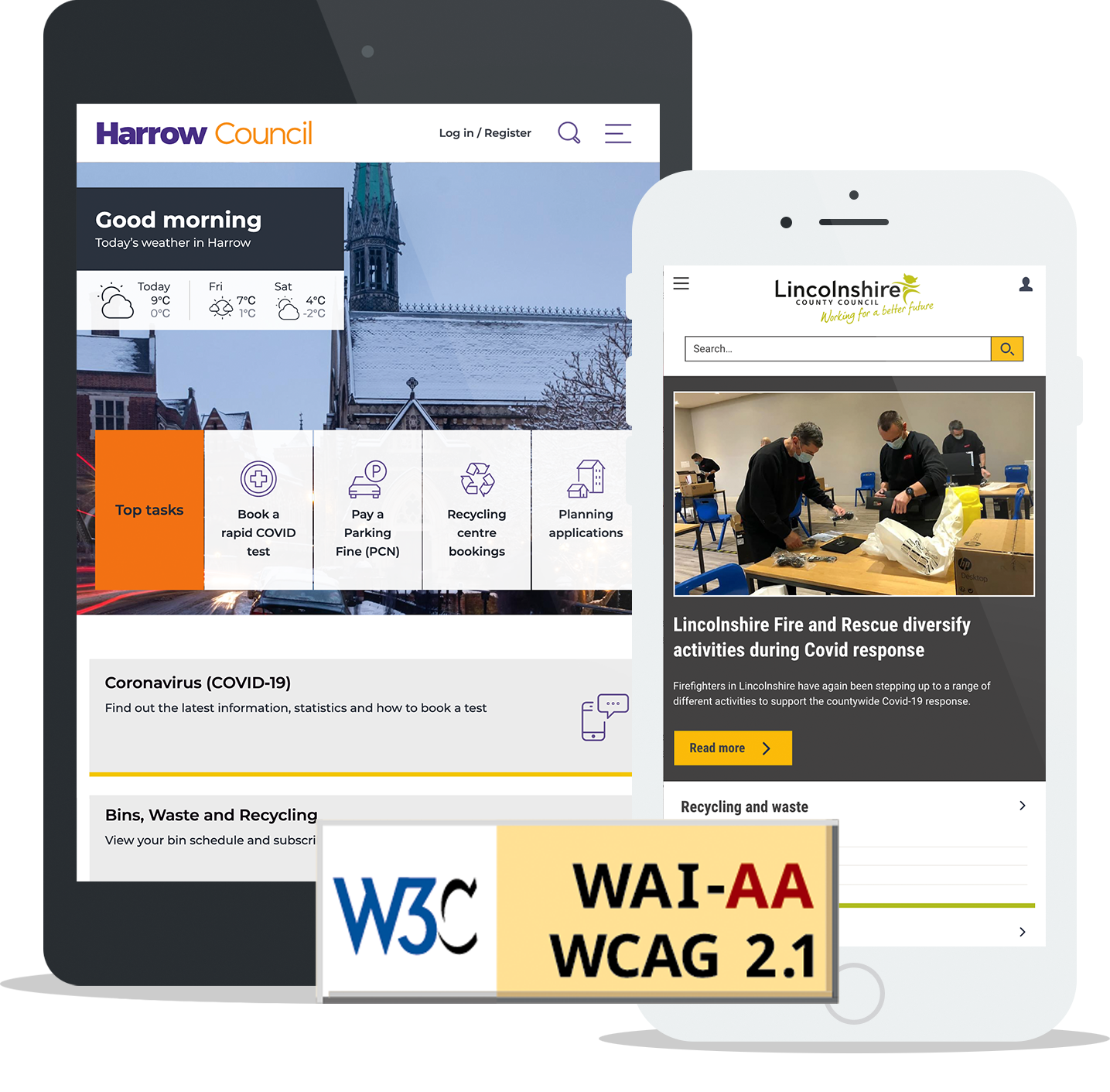 Harrow Council and Lincolnshire County Council's website homepages and W3C/WCAG AA logo
