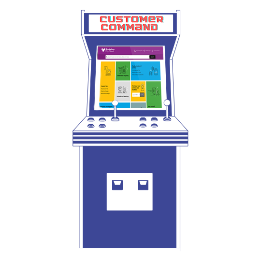 "Retro games cabinet displaying ""Customer Command"""