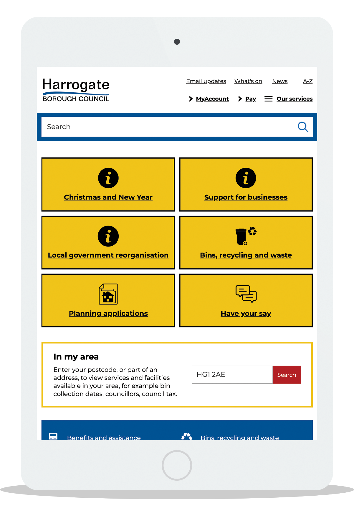 Harrogate council's homepage